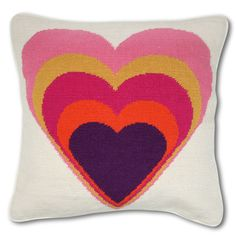 Heart Needlepoint Pillow by Jonathan Adler. I have a few needlepoint Adler pillows in my home. I guarantee you'll be in love with this one forever!