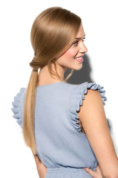 This is a ponytail which will turn a few heads. Simple fishtail braiding on super shiny hair. Keep it just tucked into the neck to give a feminine elegant feel. #nivea #hair #style #longhair #draped #ponytail #hairtutorial #tutorial #diy