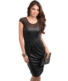 03930ee9f4a G2 Chic Women s Faux Leather Sheer Mesh Panel Little Dress Leather Dresses