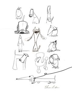 Animal Drawings Animal sketches by Susan Batori, via Behance - Illustration Inspiration, Dog Illustration, Illustrations, Doodle Drawings, Doodle Art, Drawing Sketches, Dog Sketches, Cartoon Sketches, Sketching