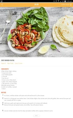 Chicken fajitas Healthy Eating Recipes, Healthy Baking, Clean Eating Recipes, Cooking Recipes, Healthy Meals, 28 By Sam Wood, Easy Chicken Fajitas, Eating Plans, Food Inspiration