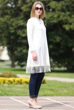 Som Fashion Ekru Penye Püsküllü Tesettür Tunik