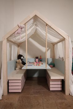 160 fun kids playroom ideas to inspire you -page 40 > Homemytri. Diy Playhouse, Toddler Rooms, Toy Rooms, Family Room Design, Kids Decor, Home Decor, Little Girl Rooms, Kids Furniture, Luxury Furniture
