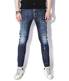 DSquared2 Men's 6 Pocket Damaged Slim Biker Fit Jeans 48 Dark Blue