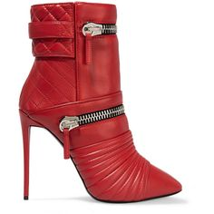 Giuseppe Zanotti Quilted leather boots (7.264.100 IDR) ❤ liked on Polyvore featuring shoes, boots, heels, red, red shoes, zipper boots, red high heel boots, embellished boots and high heel shoes