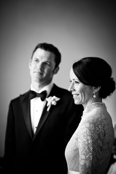 classic black and white picture of the couple.