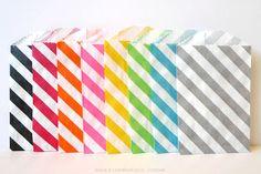 Sample Paper Bags Diagonal Stripe Pack of 16 - 2 each color ( 2.75 x 4 ). $4.00, via Etsy.