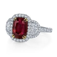 Oblong Cushion Ruby and Diamond Ring - Omi Privé - Product Search - JCK Marketplace
