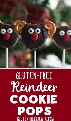 Festive and fun for all ages, these Gluten-Free Reindeer Cookie Pops are sure to spread holiday cheer. via @gfpalate