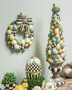 Shop Bird Nest Topiary from MacKenzie-Childs at Horchow, where you'll find new lower shipping on hundreds of home furnishings and gifts. Easter Tree, Easter Wreaths, Easter Eggs, Easter Bunny, Spring Crafts, Holiday Crafts, Topiary Decor, Topiaries, Mackenzie Childs Inspired