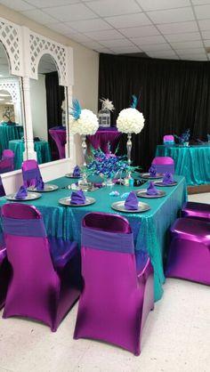 Masquerade Party Centerpieces, Wedding Centerpieces, Wedding Decorations, Peacock Birthday Party, Mermaid Theme Birthday, Peacock Theme, Peacock Wedding, Blue Purple Wedding, Rustic Wedding