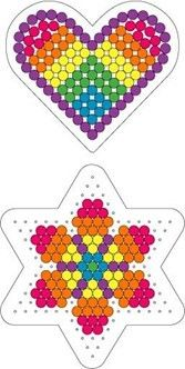 Rainbow heart and flower Perler pattern