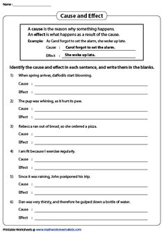 Use our printable worksheets to identify causes and effects in sentences. Learn the signal words, and practice writing pithy causes and effects. Cause And Effect Worksheets, Subject And Predicate Worksheets, Writing Practice, Reading Skills, Printable Worksheets, Teaching Tools, Reading Comprehension, Writing Prompts, Sentences