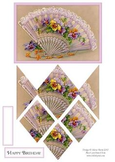 Frilly Fan with Pansies Diamond Stacker Card on Craftsuprint designed by Julene Harris - Stunning vintage of an elegant fan accented with lovely pansies. Please click on my name to view more of my designs. - Now available for download!