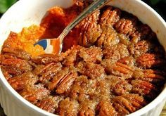 Low calorie sweet potato bake with pecan topping Must try!!! only 93 cal per serving
