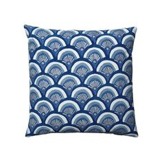 SERENA & LILY Indigo Kyoto Pillow  A vintage Japanese windsock (also called a Koinobori) gave us the idea for this dynamic print. Block printed by hand, the pattern takes on an artful quality. Metallic accents add the slightest bit of shimmer to the already jewel-like palette.