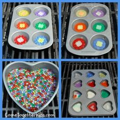 Come Together Kids: Melted Bead Suncatchers. Do it on the BBQ to keep melted plastic smell out of the house! You are in the right place about Beading aesthetic Here we offer you the most beautiful pic Diy Crafts For Kids, Projects For Kids, Crafts To Make, Easy Crafts, Craft Projects, Melted Bead Crafts, Pony Bead Crafts, Plastic Bead Crafts, Melted Bead Suncatcher
