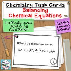 Balancing Equations Chemistry Task Cards