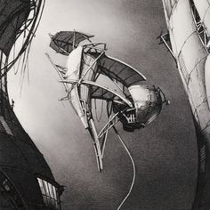 Lebbeus Woods, Photon Kite,  from the series Centricity, 1988;  graphite on paper; 24 in. x 22 in. (60.96 cm x 55.88 cm);  Collection SFMOMA