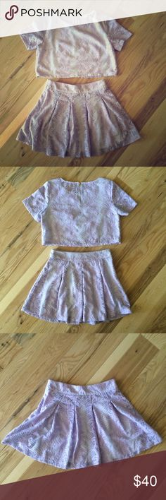 2 Piece Set: Crop Top & Skirt Skirt length: 17 inches, skirt waist: 29.5 inches size medium Crop Top length: 16 inches size large but fits a medium. Both skirt and top are lined except for the back of top. Beautiful lace detailed two piece set in lilac Tea n Cup Skirts Skirt Sets
