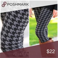 New Black Houndstooth Leggings Super soft and perfect with tunics / sweaters. Rayon and spandex blend . Elastic waist. One size fits 2-14 . NWOT.  One size fits most . Vivacouture Pants Leggings