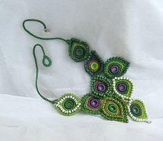 Crochet collier art de fibre comme la par DAINTYCROCHETBYALY