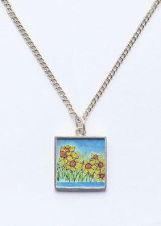 Daffodils Square Pendant