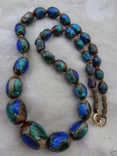 Art Deco MURANO Green Blue Oval Glass Beads 925 Sterling Silver Lariat Necklace