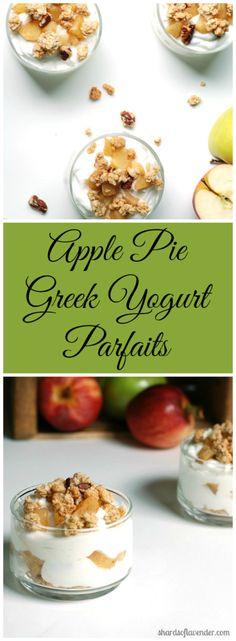 Apple Pie Greek Yogurt Parfaits | Greek yogurt bowls, granola, & cinnamon apples. Healthy & protein rich!