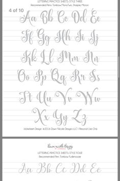 Hand Lettering Practice, Hand Lettering Alphabet, Calligraphy Alphabet, Calligraphy Worksheet, Lettering Guide, Lettering Styles, Lettering Tutorial, Cursive Writing Worksheets, Alphabet Worksheets