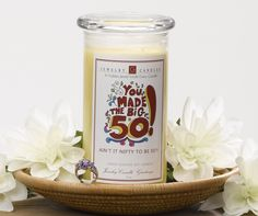This is the perfect gift for your special someone that is turning 50 years old! woo hoo! This Happy Birthday Jewelry Candle is one she will never forget guaranteed!   Whoever you give this precious candle to is sure to love it as well as the buried jewel that lies within it in this Ain't it nifty to be 50 Jewelry Greeting Candle!