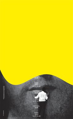 I like the concept of leaving 3/4 of the poster the neon yellow Festival Bo:m…
