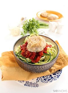Cauliflower feta meatballs and spicy harissa tomato zucchini noodles from  She Knows