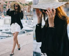 #fashion #women's #outfit's #style  #clothes   #dapper  #chic      #class   #clasic  #vintage #summer #Top, Shorts, Shoes, Hat, Sunglasses