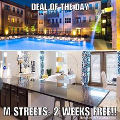 """Deal of the Day: M STREETS: 2 WEEKS FREE on 12 month leases. Apartment is paying 150% of 1 months rent as commission which they pay out of their advertising budget in order to get new tenants. We will split our commission with you as a thank you for using our service. Text: DEAL"""" to 214-308-1807 for more info.  Don't forget to put down """"Help Urself Leasing"""" when filling out ur lease application to get back 50% of the commission we earn from ur referral. Check out our website for details…"""