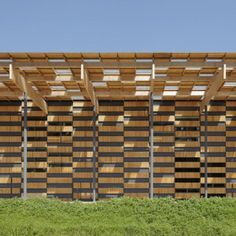 An art and culture centre with a chequered timber facade by Kengo Kuma. Japan Architecture, Wooden Architecture, Timber Buildings, Architecture Details, Kengo Kuma, Small Courtyard Gardens, Dezeen, Pavilion, Centre