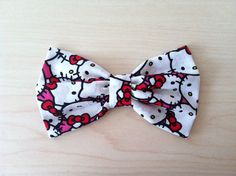 Hello Kitty Hair Bow with Clip, Cat Fabric Bow, kids, Teens, Women | MuMuu Shop on Etsy