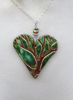 Heart Tree Ceramic Pendant Necklace in Green, Aqua & Cinnamon Fuzed Glazes with Sterling Silver Chain  Ceramic Jewelry on Etsy, $36.00