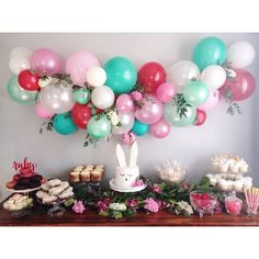 Biggest happy birthday to sweet, little Ruby! I'm obsessed with how this balloon garland turned out!! That was so fun @justinemadesign, happy I could help decorate! #partiesaremyhappyplace #rubysballoongardenparty #justbellabash #firstbirthdayparty