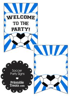 Blue Sunburst Soccer Party Signs from PrintableTreats.com