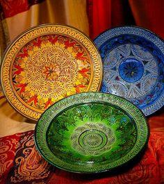 Engraved Ceramic Platter from Morocco