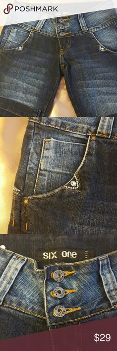Six one Brazilian low rise jeans size 36/26 USA Very cute Brazilian jeans. With rhinestones 5 pockets skinny jeans. New with no tags. Six one  Jeans Skinny