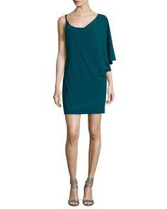 TCNP5 Halston Heritage Asymmetric-Sleeve Shift Dress, Spruce