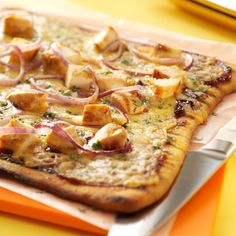Barbecued Chicken Pizzas Recipe -So fast and so easy with refrigerated pizza crust, these Barbecued Chicken Pizzas will bring raves with its hot-off-the-grill, rustic flavor. Perfect for a small, spur-of-the-minute backyard pool party! —Alicia Trevithick, Temecula, California