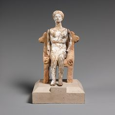 Terracotta doll with articulated arms seated on a chair,late classical or early hellenistic period. 4th century  BC,Greek,Attic