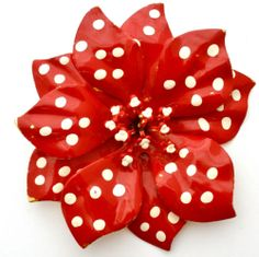 Retro Polka Dot Flower Brooch Huge Red Enamel Flower Power Vintage Dimensional | eBay