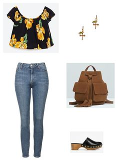 Black floral off the shoulder top+high waist jeans+black clogs+brown backpack+gold earrings. Summer Casual Outfit 2016