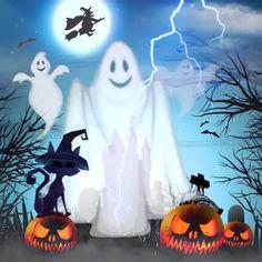 Vintage Halloween Design by johannaparkerdesign - Snoopy Halloween, Retro Halloween, Happy Halloween Gif, Halloween Imagem, Betty Boop Halloween, Halloween Design, Holidays Halloween, Halloween Pumpkins, Halloween Decorations