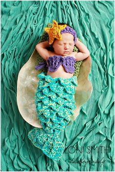 Baby Mermaid Set Starfish Headband Shells Tail Drape - Hat Crochet Outfit Newborn Boy Girl Halloween Thanksgiving Photo Prop. $45.99