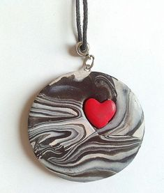 awesome Black+and+white+polymer+clay+swirled+necklace+with+by+KaisCards,+£7.00...